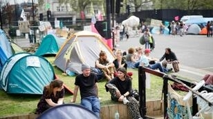 Climate change activists at the Extinction Rebellion group's environmental protest camp in Marble Arch central London where they are regrouping after blocking some of the capital's business thoroughfares