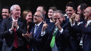 Les présidents des fédérations de football américaine, canadienne et mexicaine après l'annonce de leur selection pour le Mondial-2026.