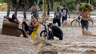 A flooded street in El Progreso, in Honduras' Yoro department, after the passage of hurricane Iota