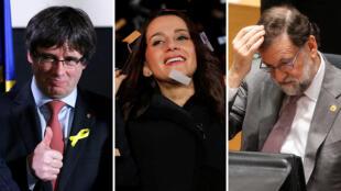 Carles Puigemont (JuntsxCat), Inés Arrimadas (Ciudadanos) y Mariano Rajoy (PP)