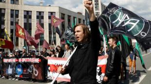 Manifestación en protesta contra la decisión del tribunal de bloquear Telegram en Moscú. 13 de mayo 2018.