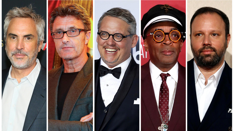 Los nominados al Oscar a mejor director, Alfonso Cuarón, Pawel Pawlikowski, Adam McKay, Spike Lee y Yorgos Lanthimos.