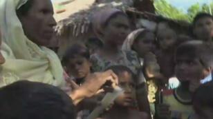 Une femme rohingya montre l'écorce de bananier dont elle se nourrit, faute de riz.