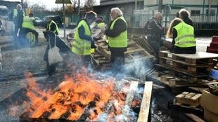 """""""Yellow vests"""" blocked access to an oil depot in Le Mans on Tuesday. """"Emmanuel Macron is a little boy who's never been told ?you shouldn't do that?. The guy thinks he's God!"""" one of them said"""