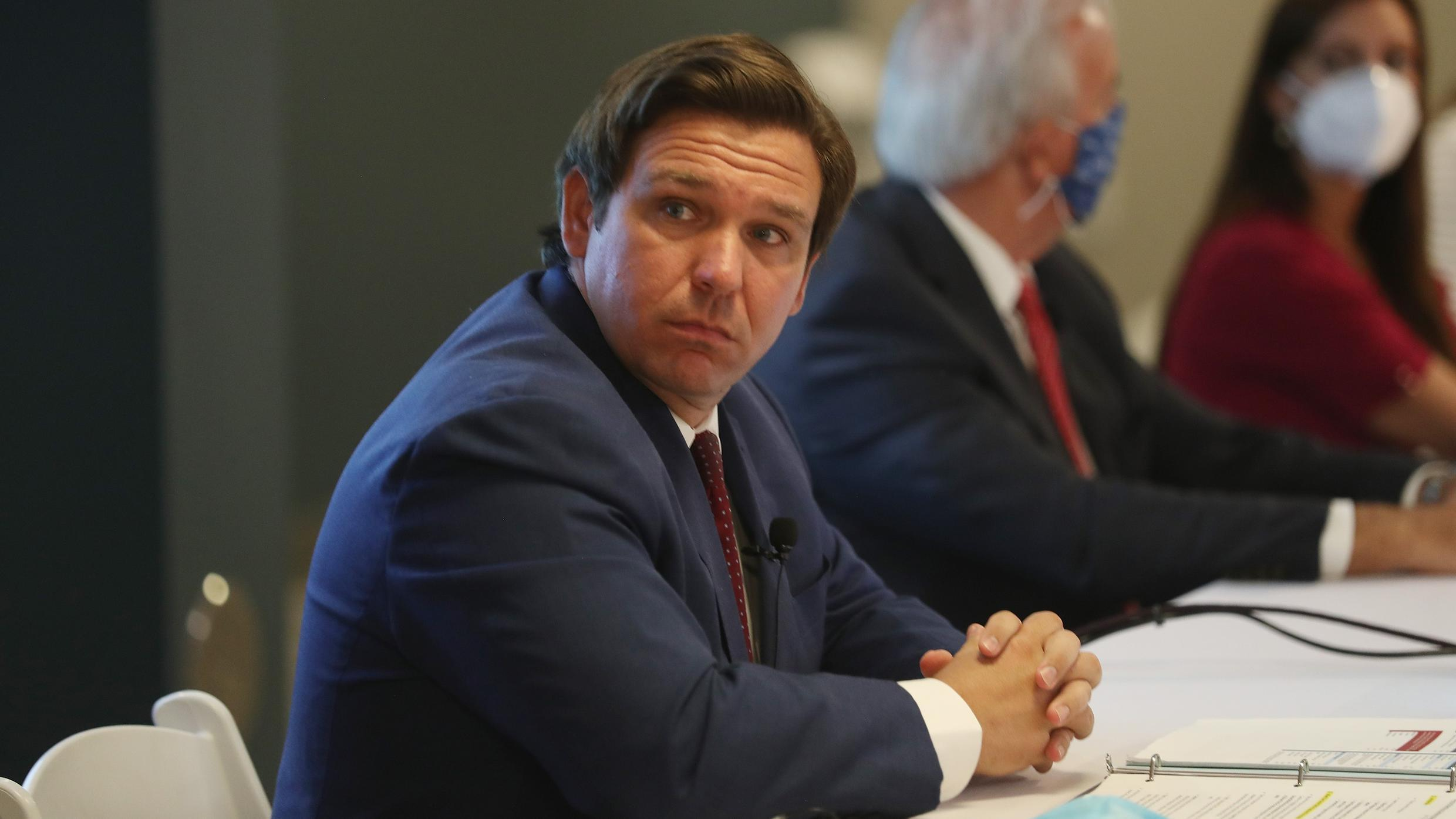Florida Governor Ron DeSantis speaks during a press conference about the coronavirus held at the Pan American Hospital on July 07, 2020 in Miami, Florida.
