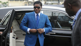 File picture of Teodorin Obiang arriving at the Malabo stadium in Equatorial Guinea, on June 24, 2013, for his birthday celebrations.