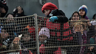 Des migrants coincés en Grèce, à Lesbos, en février 2016.