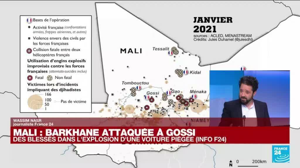 2021-06-21 13:01 Mali : Barkhane attaquée à Gossi, des blessés dans l'explosion d'une voiture piégée