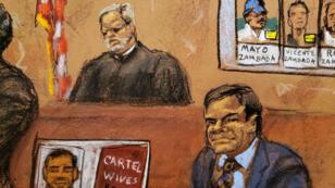 El acusado Joaquín 'El Chapo' Guzmán escucha los argumentos de cierre del juicio en su contra en la corte federal de Brooklyn, EE. UU., el pasado 31 de enero de 2019.