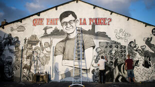 Un dessin représentant Steve Maia Caniço, dont le corps a été retrouvé dans la Loire plus d'un mois après l'intervention controversée des forces de l'ordre sur le quai Wilson à Nantes, dans la nuit du 21juin2019.