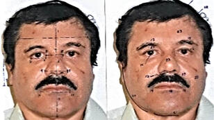 """This handout photo released on February 25, 2014 by Mexican Attorney General office (PGR) shows facial measurements on a portrait of the Mexican drug trafficker Joaquin Guzman Loera, aka """"el Chapo Guzman"""" in Mexico City."""