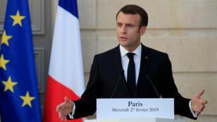 Emmanuel Macron, le 27 février 2019, à Paris.