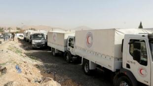 Un convoy humanitario entró el lunes 5 de marzo de 2018 a Guta Oriental, zona afectada desde la intensificación de los ataques por parte de las autoridades sirias y sus aliados el pasado 18 de febrero. El convoy está organizado por la ONU, el Comité Internacional de la Cruz Roja (CICR) y la Media Luna Roja Siria.