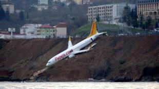Un avión de Pegasus Airlines derrapó en el aeropuerto de Trebisonda junto al Mar Negro el 14 de enero de 2018.