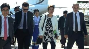 UN Special Envoy for Myanmar Christine Schraner Burgener (2nd-R) arrives at the airport in Sittwe, capital of Rakhine state the home of persecuted Rohingya Muslim minority on January 22, 2019.