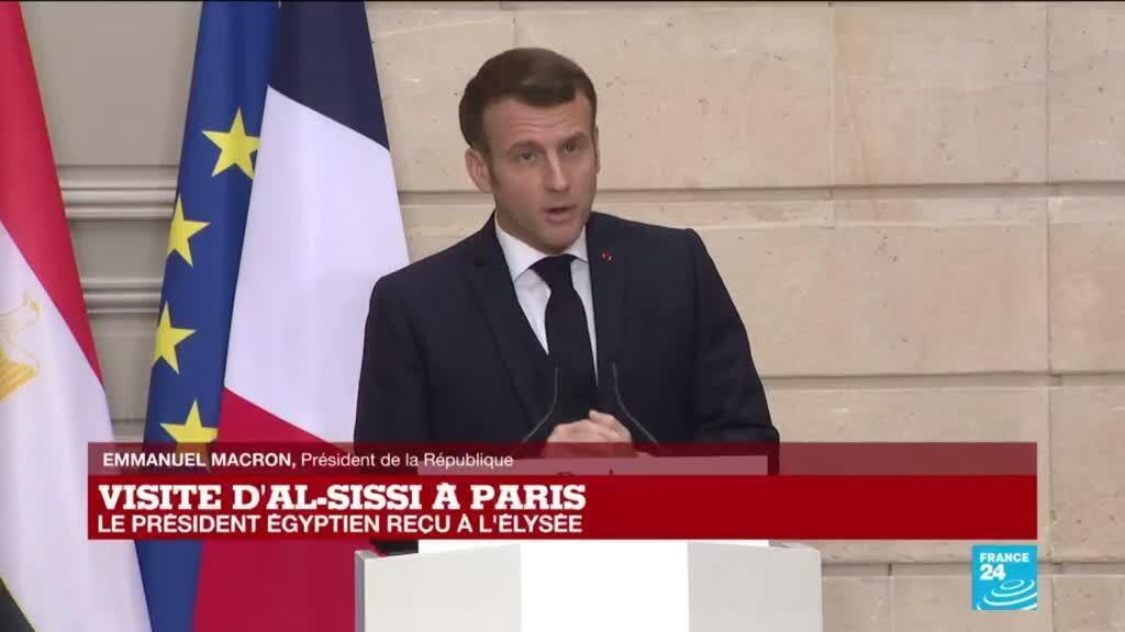 2020-12-07 12:36 REPLAY - Visite d'Abdel Fattah al-Sissi à Paris : conférence de presse des présidents français et égyptien