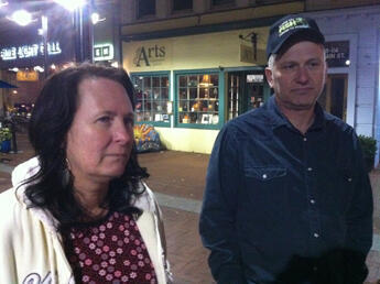 Michael Haltigan (right)voted for Obama in 2008, but will vote for Romney this year. His wife, Robyn, has not yet decided.