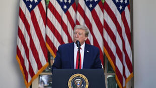 الرئيس الأمريكي دونالد ترامب في حديقة البيت الأبيض في 7 أيار/مايو 2020