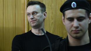 Alexeï Navalny lors de son audience à Moscou, le 27 mars 2017.