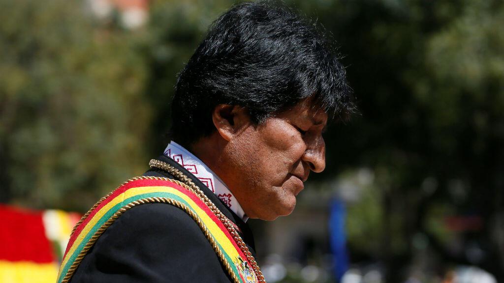 El presidente de Bolivia, Evo Morales,el23 de marzo de 2019, durante una ceremonia que marca el 'Día del Mar', que recuerda que su país perdió su acceso marítimo, ante Chile, durante la Guerra del Pacífico de 1879-1883.