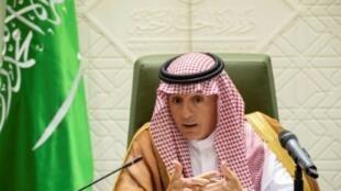 وزير الخارجية السعودي عادل الجبير خلال مؤتمر صحفي بالعاصمة الرياض 8 آب/أغسطس 2018