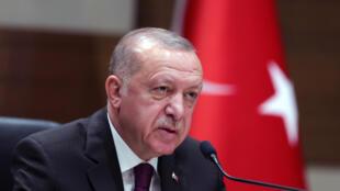 صورة وزعها المكتب الاعلامي للرئاسة التركية للرئيس رجب طيب اردوغان متحدثا للصحافيين في المطار باسطنبول قبيل مغادرته الى الجزائر في 26 كانون الثاني/يناير 2020.