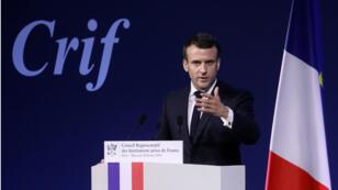 Emmanuel Macron au Carrousel du Louvre, le 20 février 2019, à Paris, lors du dîner du Crif.