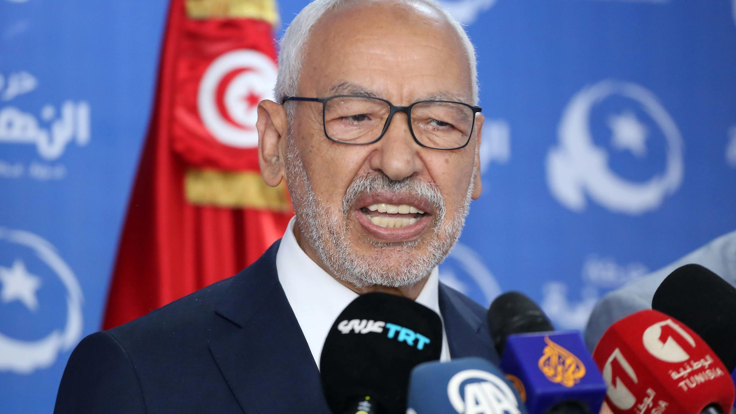 Ennahdha party leader Rached Ghannouchi gives a press conference in reaction to the first exit polls in the capital Tunis on October 6, 2019.