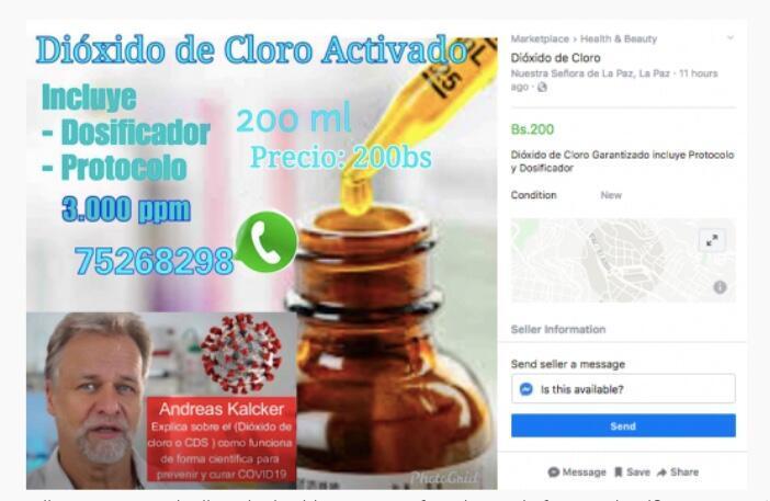 """""""Andreas Kalcker explica cómo el dióxido de cloro o CDS funciona de forma científica para prevenir y curar Covid-19"""", indica este anuncio del """"Marketplace"""" de Facebook, en Bolivia."""