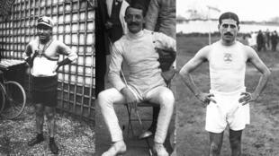 De gauche à droite : le cycliste Octave Lapize, l'escrimeur Gaston Alibert et l'athlète Jean Bouin.