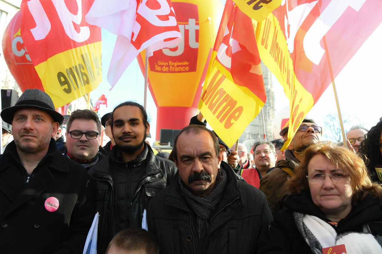 Le secrétaire général de la CGT, Philippe Martinez, en chef de file de la mobilisation parisienne, le 5 février.