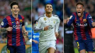 Lionel Messi, Cristiano Ronaldo et Neymar, finalistes du Ballon d'Or 2015.