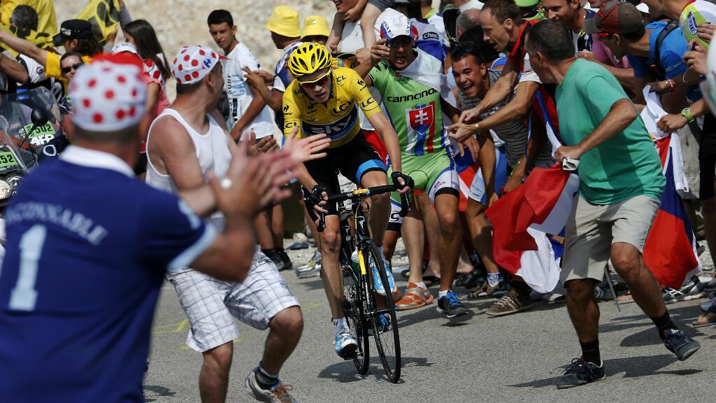 Christopher Froome lors de sa victoire sur le mont Ventoux, le 14 juillet  2013.