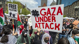 Thousands gather during a rally to support Palestine at Copley Square in Boston, Massachusetts on May 15, 2021