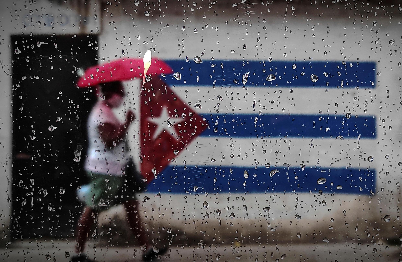 Una bandera de Cuba pintada en un muro de La Habana el 12 de enero de 2021.