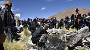 El presidente de Bolivia, Evo Morales, se trasladó a la cuenca del Silala tras conocerse la demanda de Chile sobre el sistema hídrico en el año 2016.