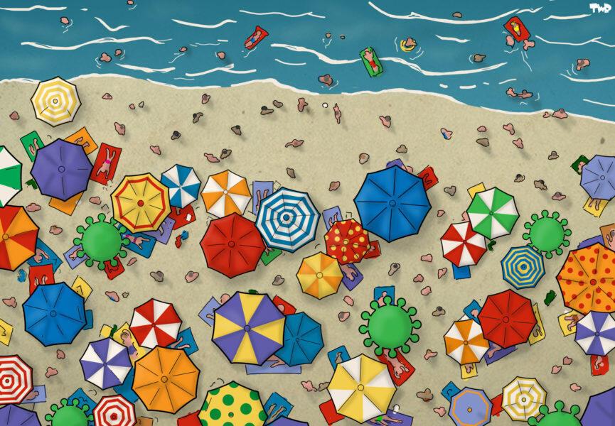 Alors que les vacanciers se pressent sur les plages, le dessinateur hollandais Tjeerd Royaards invite à la prudence, en  rappelant que le coronavirus continue de se propager.
