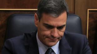 El jefe del Gobierno español, Pedro Sánchez, durante el segundo día del debate de investidura en el Parlamento en Madrid, España, el 23 de julio de 2019.
