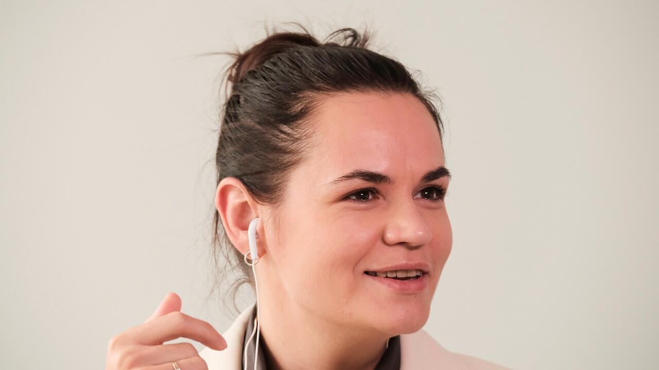 تيخانوفسكايا تشارك في النقاش السنوي الـ75 للجمعية العامة للأمم المتحدة رفيع المستوى عبر الإنترنت في فيلنيوس، ليتوانيا. 4 سبتمبر/أيلول 2020.