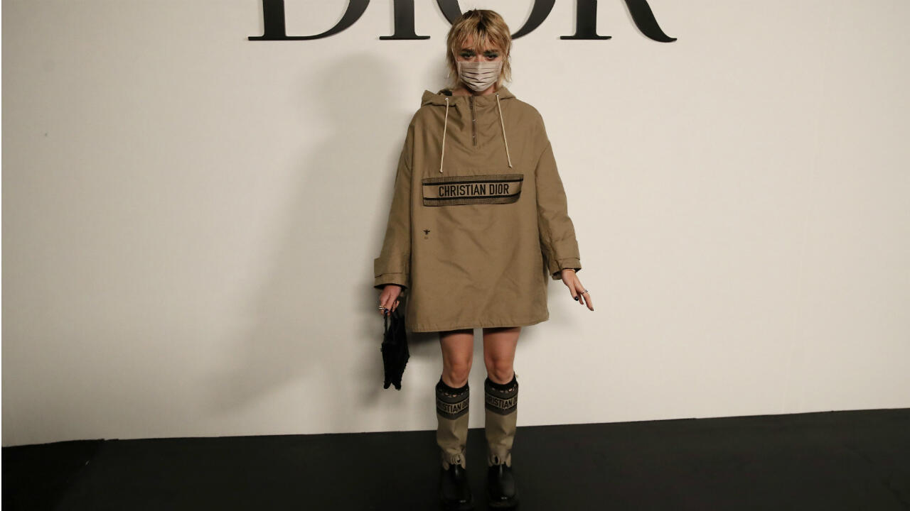 British actress Maisie Williams poses before Dior's Spring/Summer 2021 fashion collection show on September 29, 2020, in Paris.