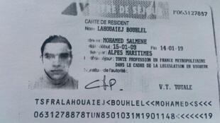 Titre de séjour provisoire de Mohamed Lahouaiej Bouhlel.
