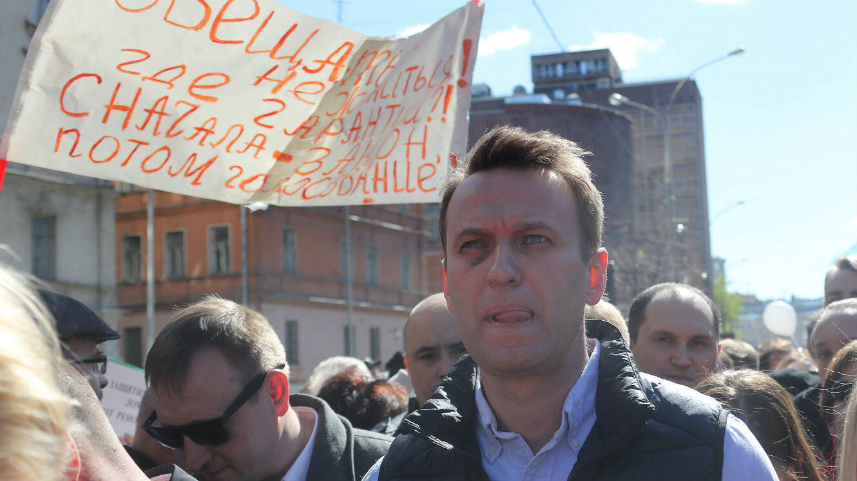 Alexeï Navalny, lors d'une manifestation contre le pouvoir russe, à Moscou, le 14 mai 2017.