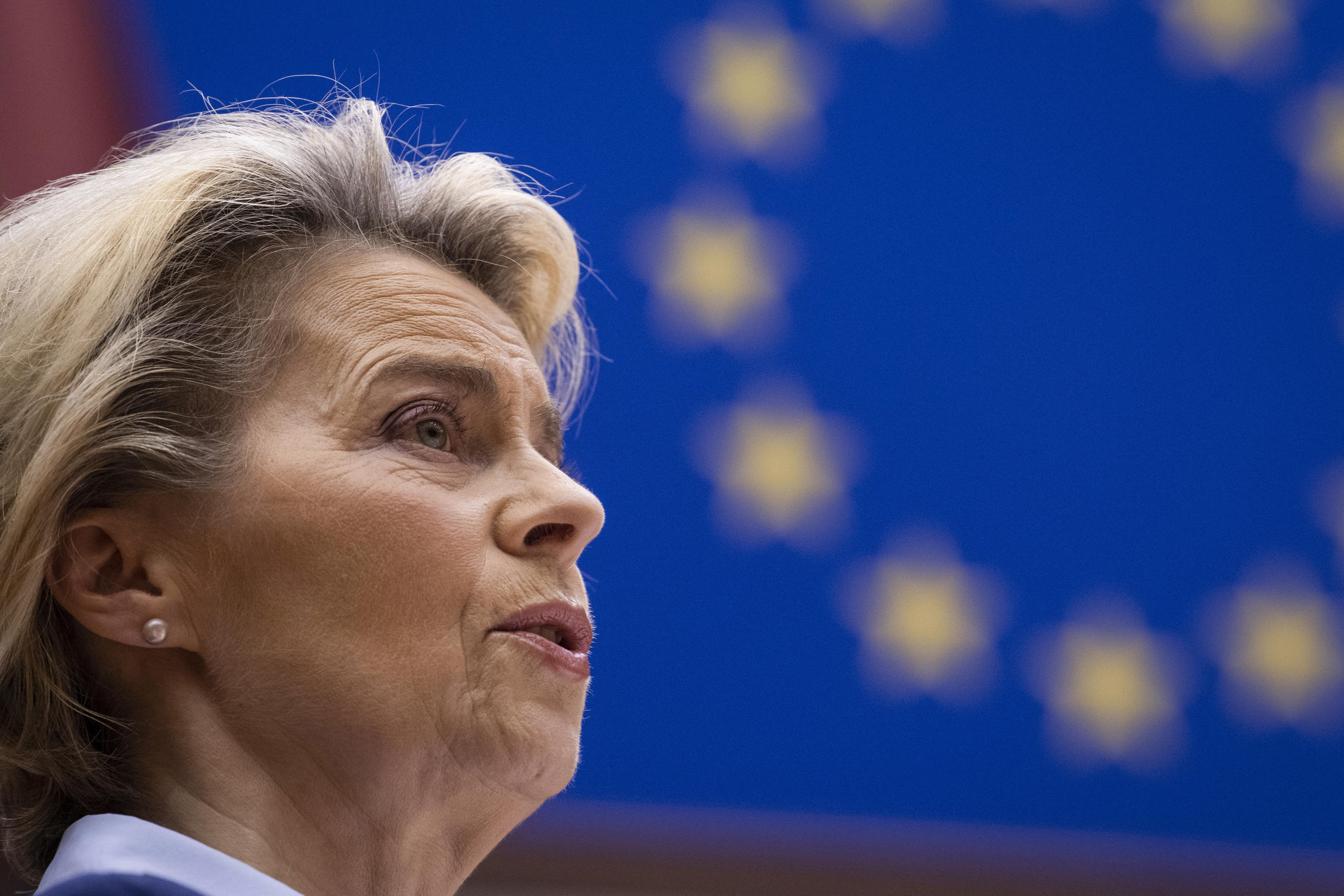 European Commission President Ursula von der Leyen addresses MEPs during a plenary session at the European Parliament in Brussels on December 16, 2020.