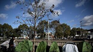 Des tentes de migrants porte d'Aubervilliers, près de Paris, le 18 octobre 2019.