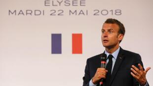 Emmanuel Macron, lors de son discours sur les quartiers difficiles, mardi 22 mai, à l'Élysée.