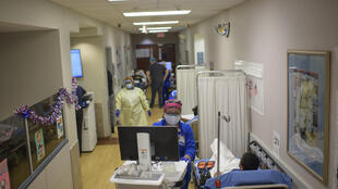 Patients in the corridor of the Oakbend Medical Center, which is dealing with a surge of COVID patients