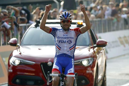 Thibaut Pinot lors de sa victoire au Tour de Lombardie le 13 octobre 2018.