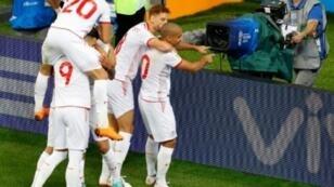 فرحة اللاعبين التونسيين بعد الفوز على بنما 2-1. 2018/06/28