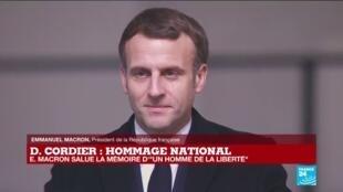 """2020-11-26 15:50 REPLAY - Emmanuel Macron salue la mémoire de Daniel Cordier  """"un homme de la liberté"""""""