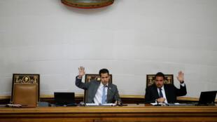 El líder opositor venezolano Juan Guaido, a quien varias naciones han reconocido como el legítimo presidente interino del país, asiste a una sesión de la Asamblea Nacional de Venezuela en Caracas, Venezuela, el 13 de febrero de 2019.